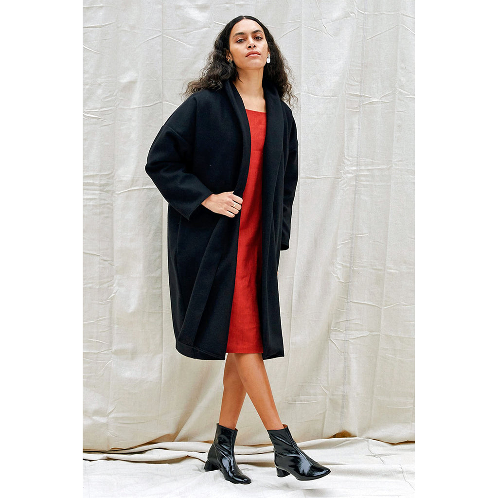 riverside coat in noir
