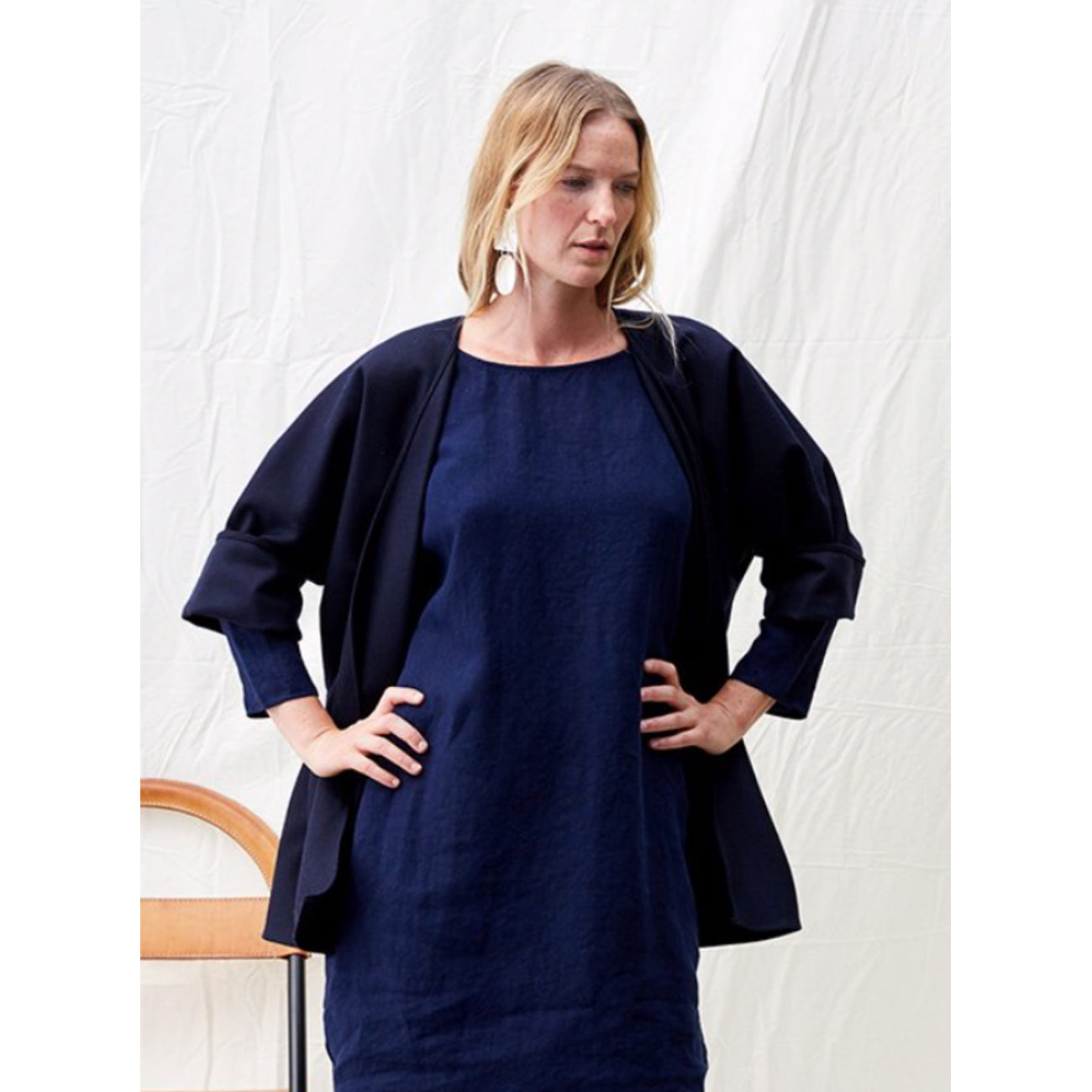 Rachel Craven Wool Short Kimono Jacket in Midnight