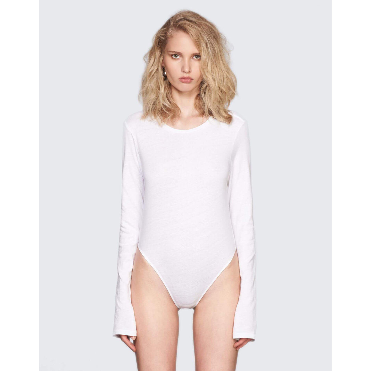 Re/Done Long Sleeve Bodysuit in Optic White