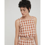 lula top in brown check