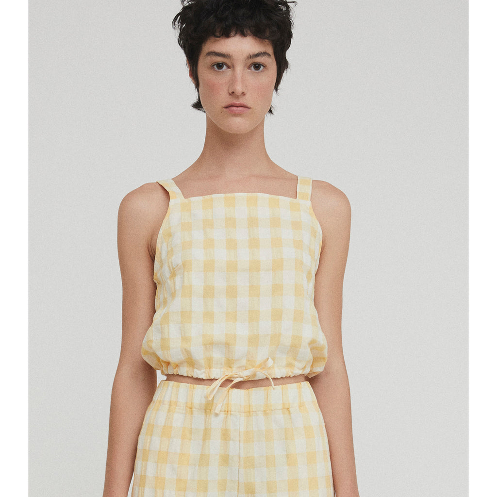 lula top in yellow check