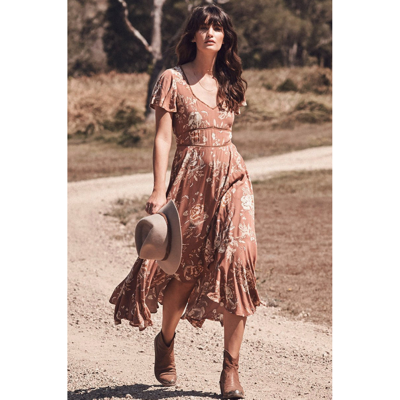 Spell and The Gypsy Collective Rosa Garden Party Dress in Camel