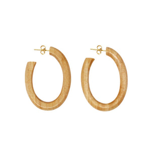 minimal wood hoop earring