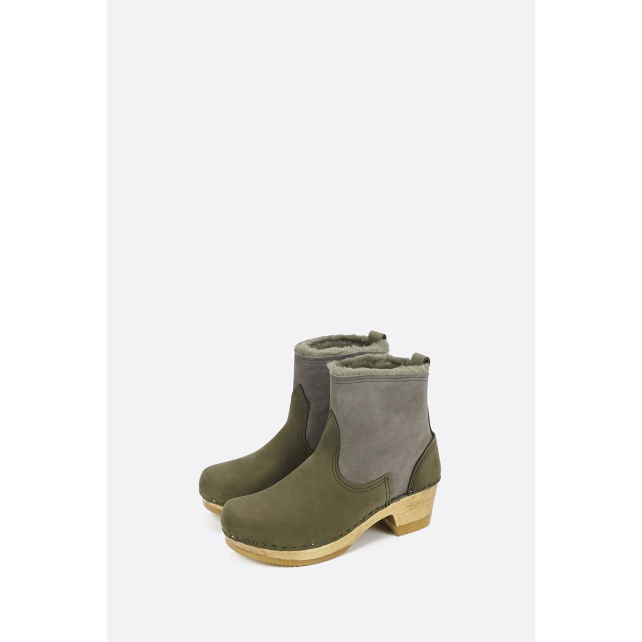 "No.6 5"" Shearling Boot on Mid Heel in Storm Suede"