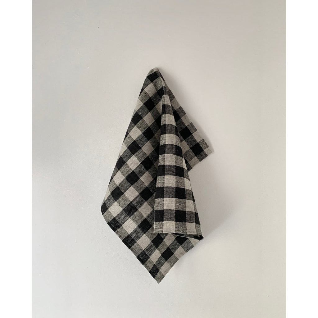 thick linen kitchen cloth: black + natural check