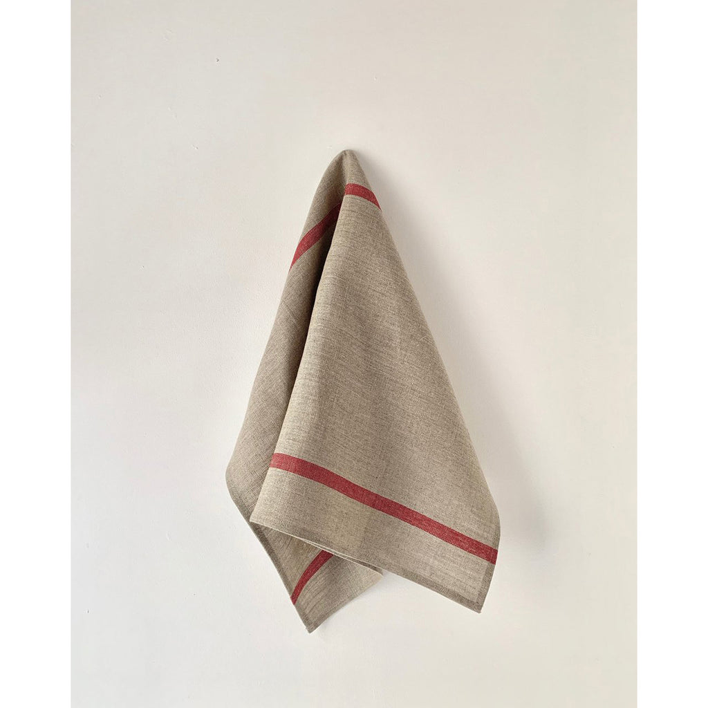 thick linen kitchen cloth: natural w/ red stripe