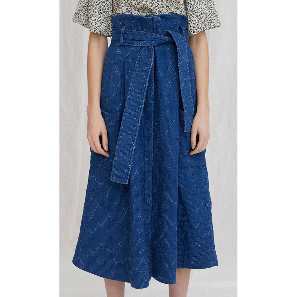 quilted denim pocket skirt in indigo