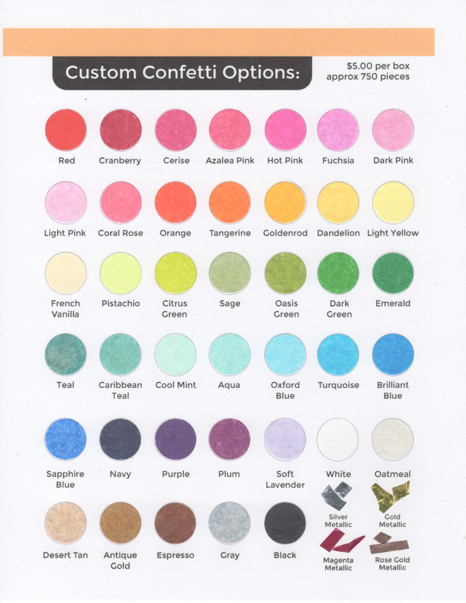 Confetti Color Options.