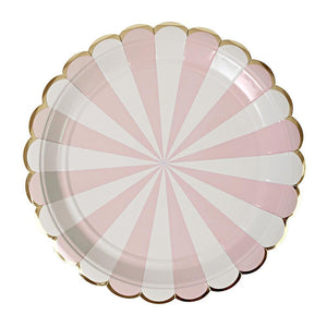 Dusty Pink Stripe Plates (Large)