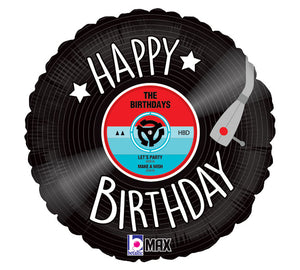 """Happy Birthday"" Vinyl Record Foil Balloon"
