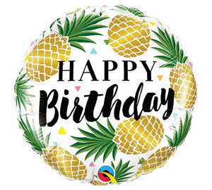 Golden Happy Birthday Pineapple Foil Balloon
