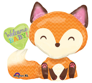 """Welcome Baby!"" Fox Foil Balloon"