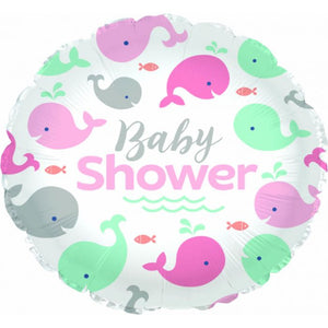 Pink Whale Baby Shower Foil Balloon