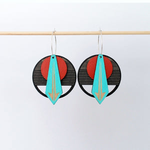 Arrow Earrings: Red on Black