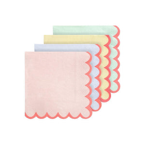 Assorted Pastel Neon Edge Napkins (Small)
