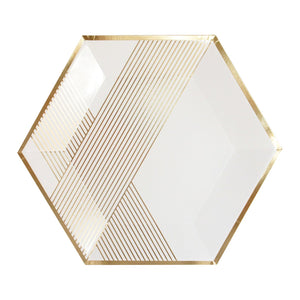 Blanc White Hexagon Striped Large Paper Plates