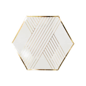 Blanc White Hexagon Striped Small Paper Plates