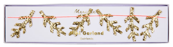 Gold Glitter Pine Mini Garland