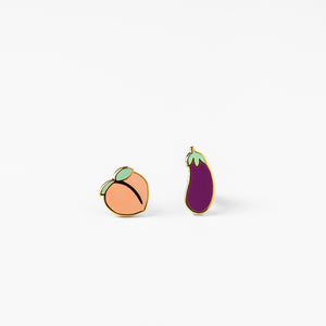 Peach and Eggplant Earrings