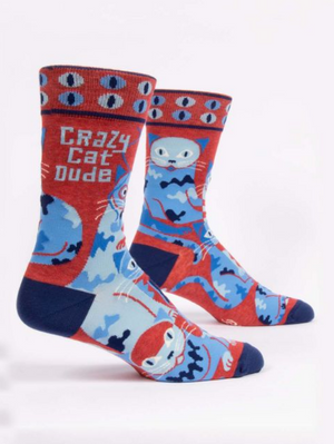 Crazy Cat Dude Mens Sock