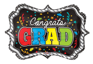 Congrats Grad Colorful Frame Foil Balloon