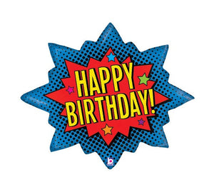 Superhero Birthday Burst Foil Balloon
