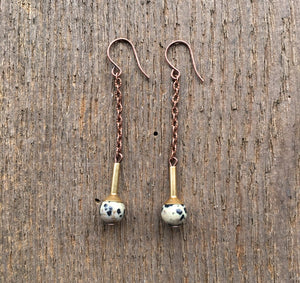 Dalmation Jasper and Funnel Earrings
