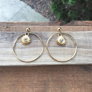 Golden Sunshine Hoop Earrings