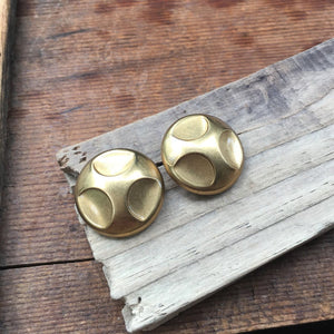 Brass Button Earrings
