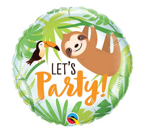 Let's Party Sloth and Toucan Foil Balloon