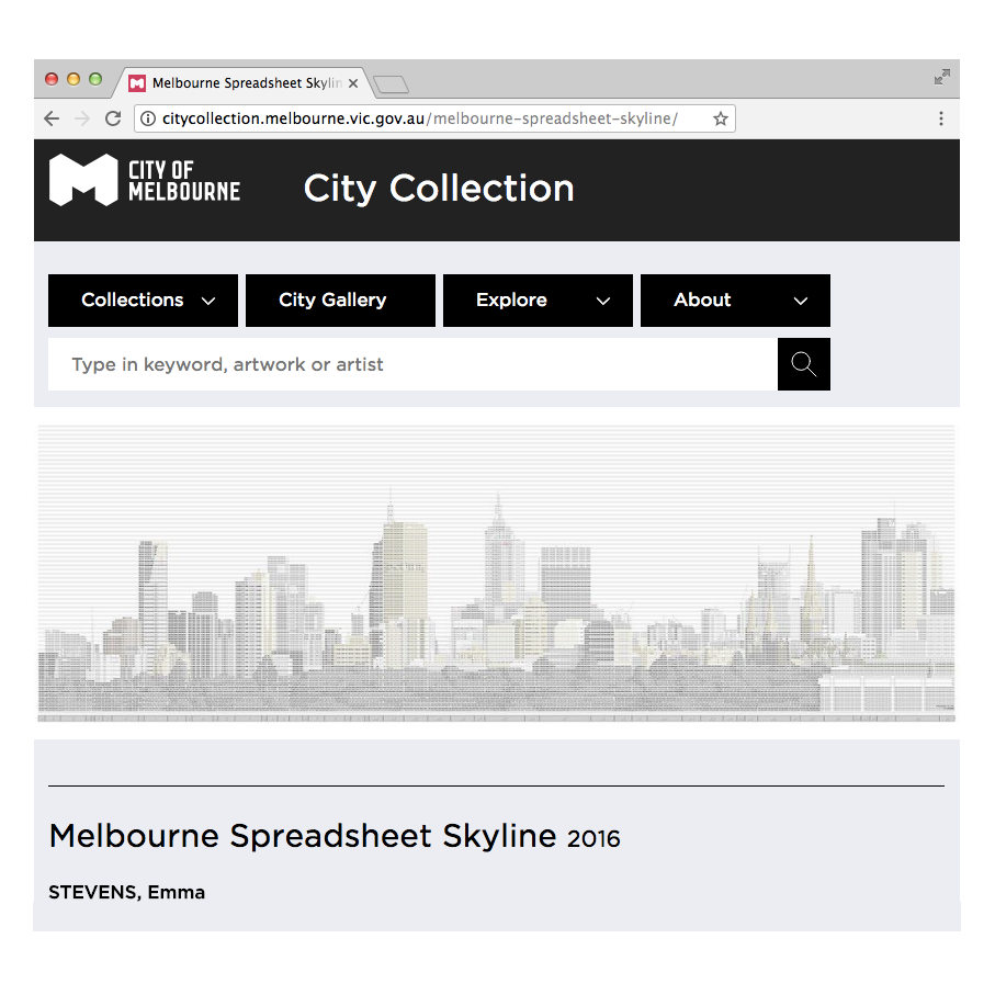 Melbourne Spreadsheet Skyline finds home in Council Art Collection