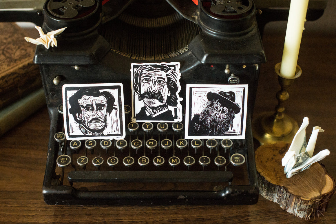 Vinyl Stickers, Set of 3 -- Whitman, Poe and Twain