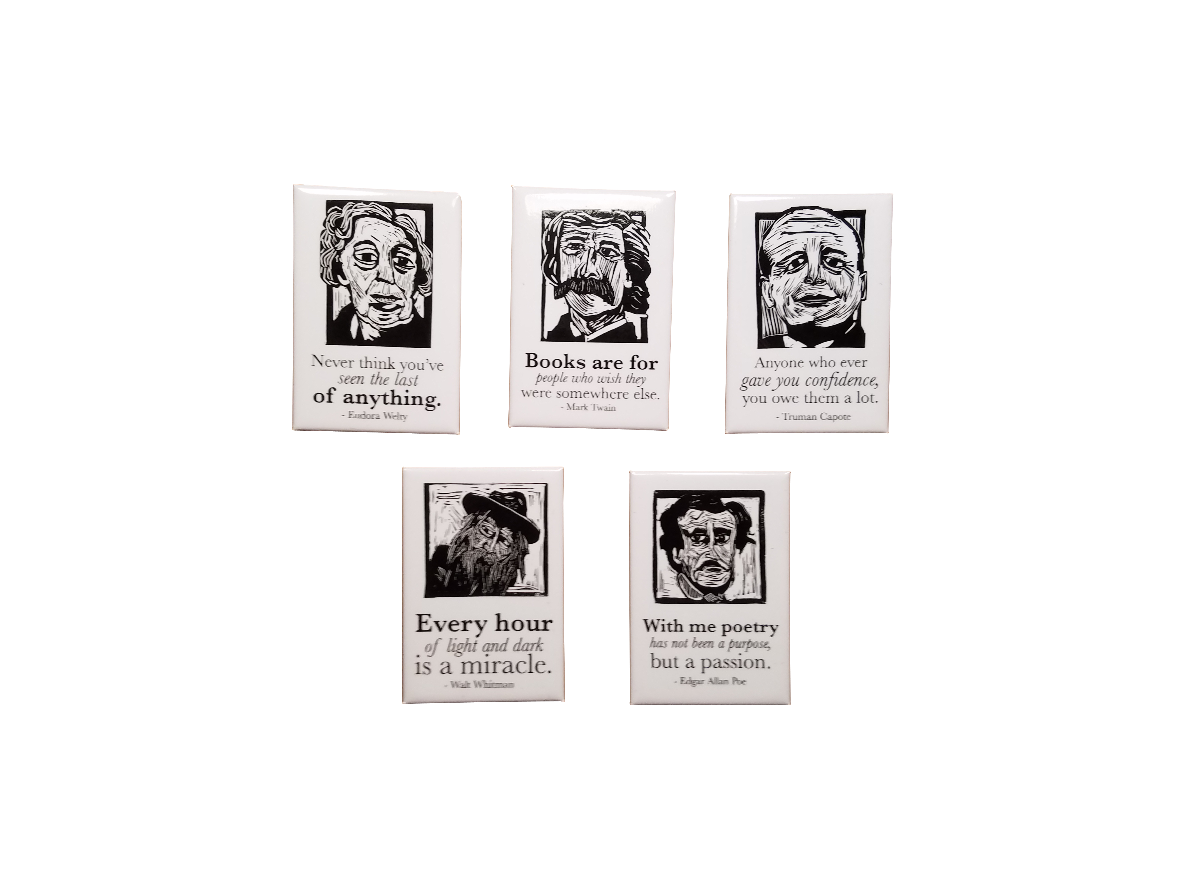 gifts for book lovers Magnet set of Edgar Allan Poe, Mark Twain, Walt Whitman, Eudora Welty and Truman Capote,  literary gifts by Eastgrove Studio