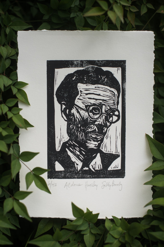 Aldous Huxley Brave New World Art Print Linocut Literary Gift
