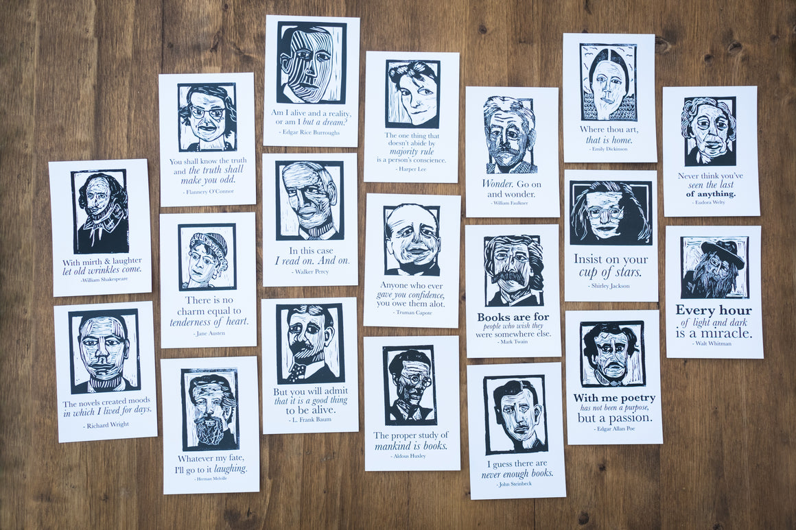 Postcard set Art prints of Poe, Whitman, Faulkner, Dickinson, Capote, Huxley, Lee, Steinbeck, Welty, Melville, and Shakespeare literary gifts by Eastgrove Studio