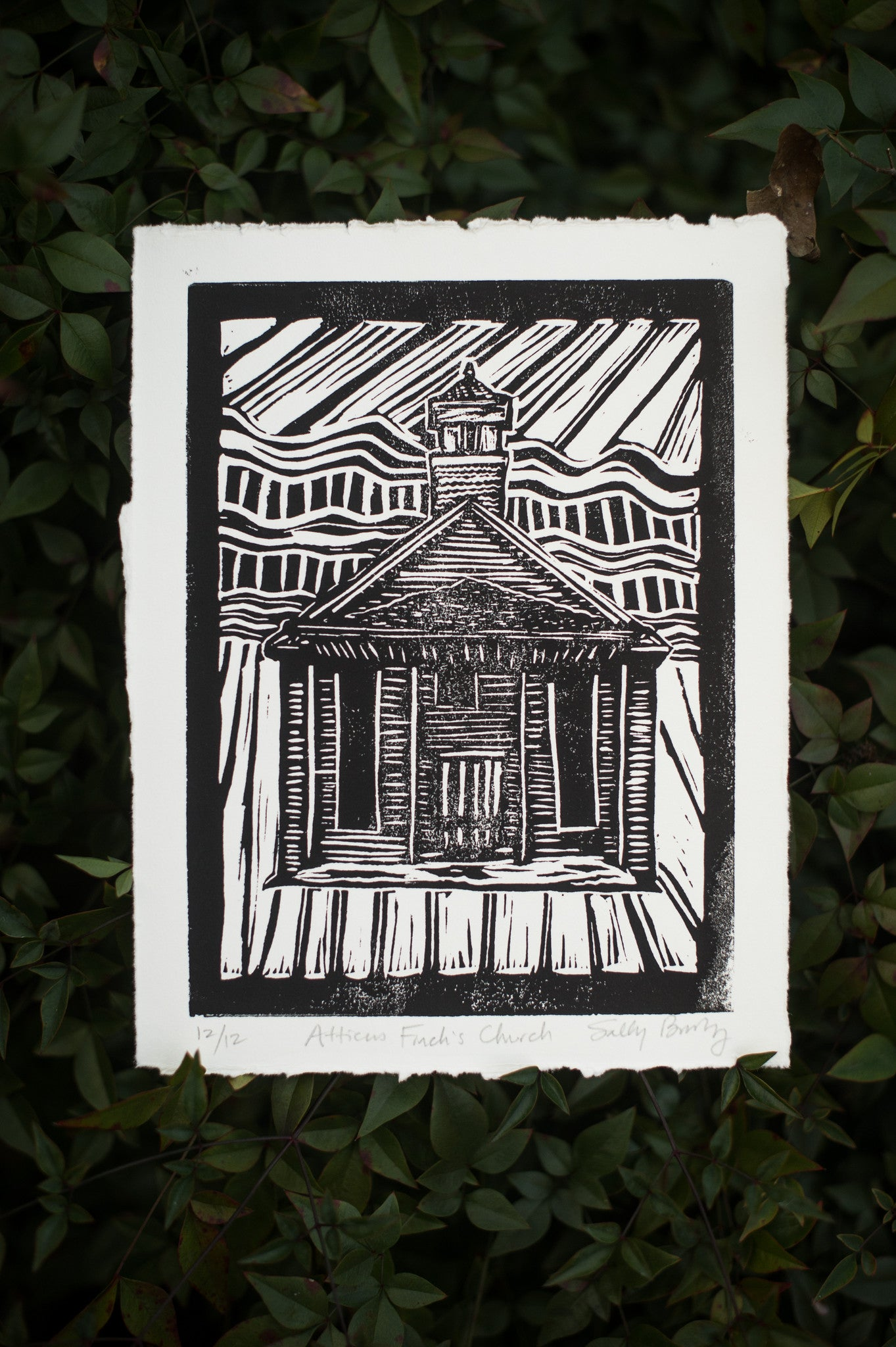 To Kill a Mockingbird's Atticus Finch Church Handmade Linocut Art Print Literary Gift by Eastgrove Studio