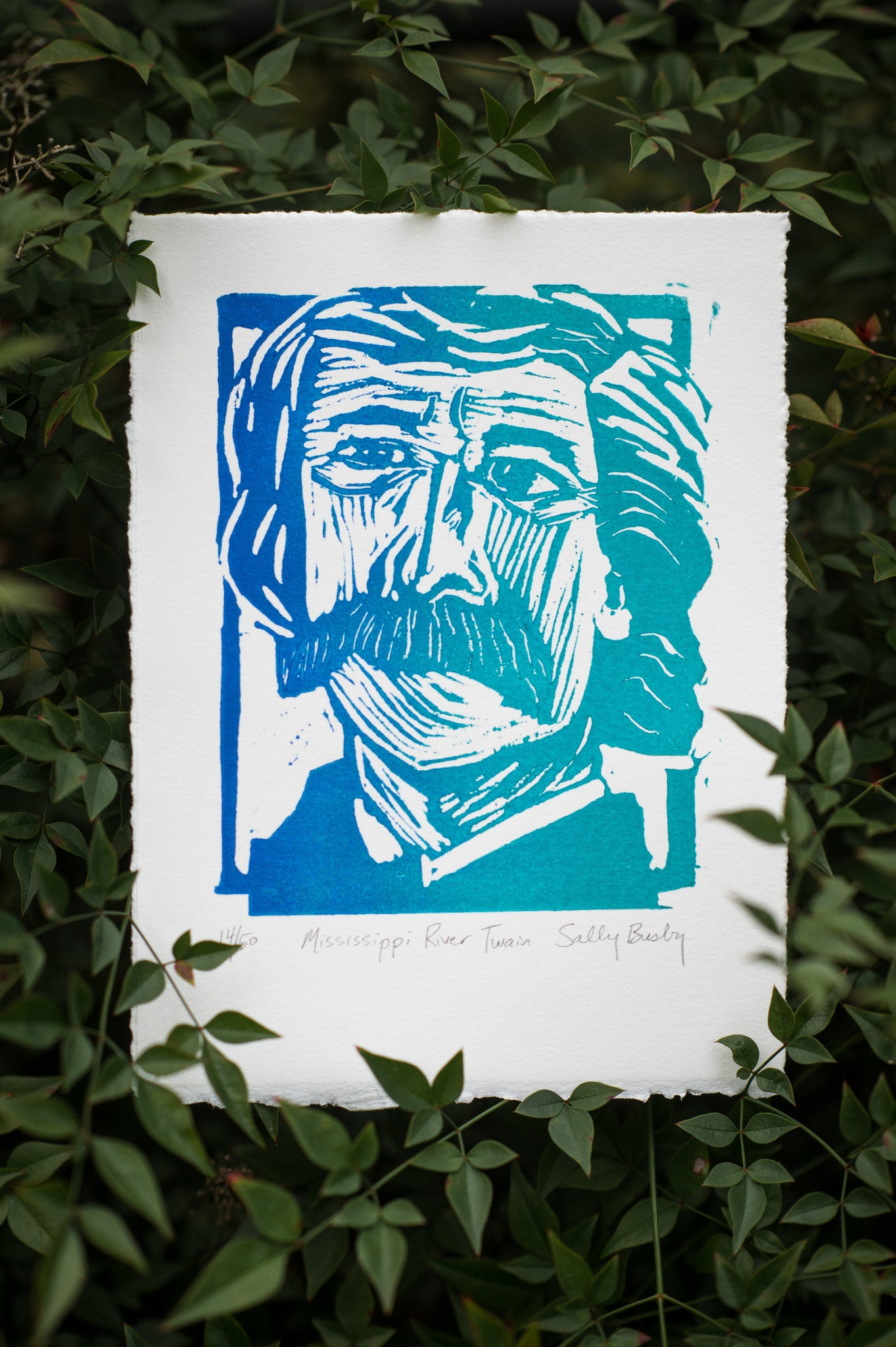 Mark Twain Hand Pulled Linocut Blue River colored limited edition art print Literary gift by Eastgrove studio