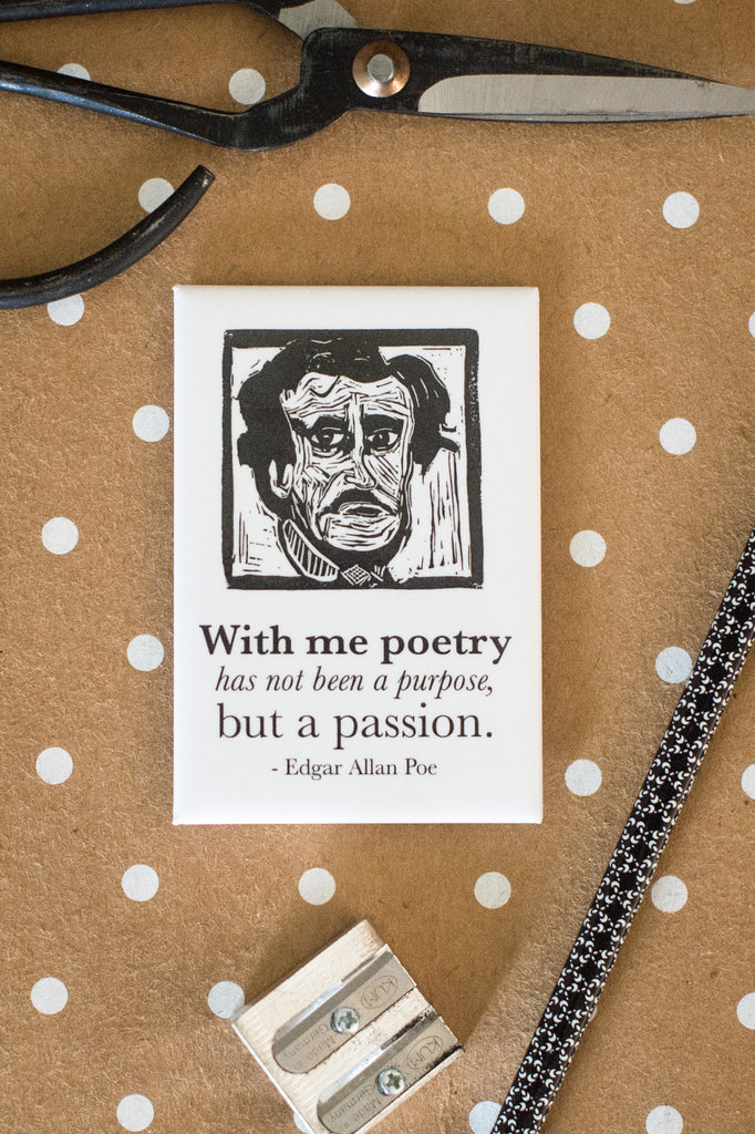 Edgar Allan Poe Art Print display magnet with quote Literary Gift by Eastgrove Studio