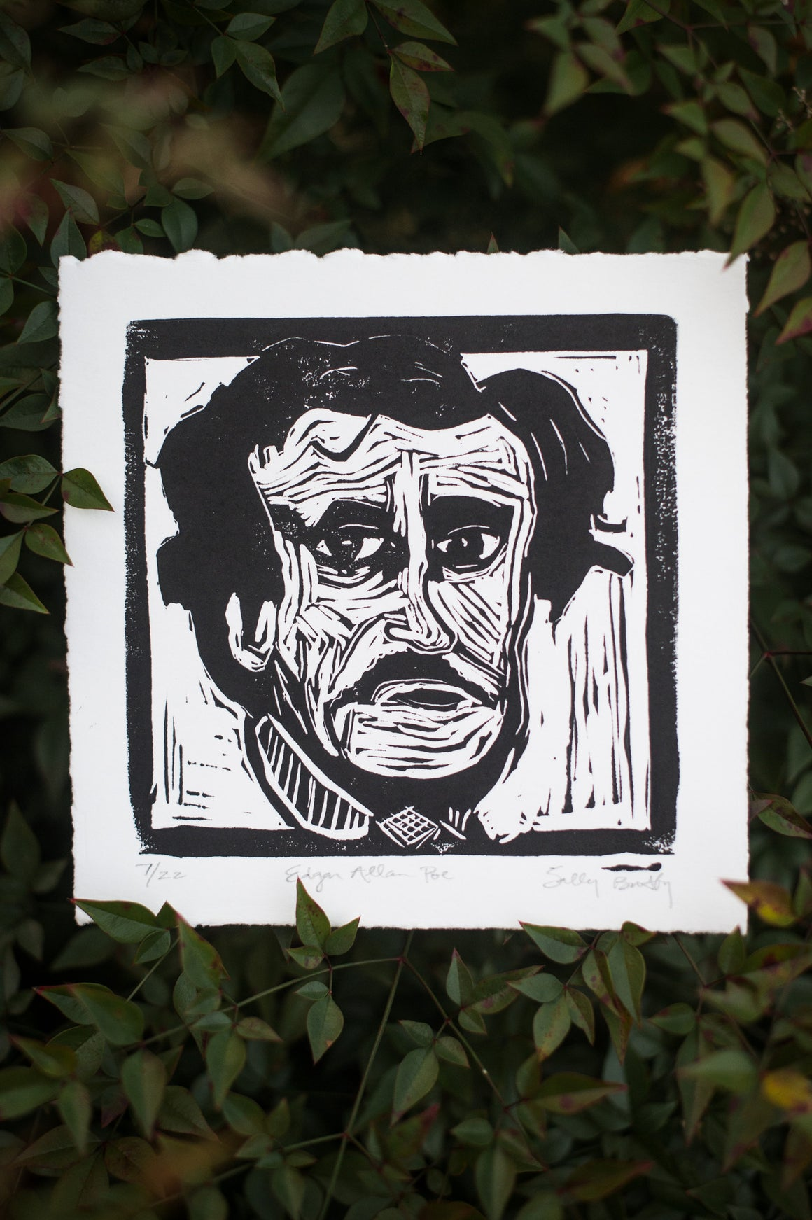 Edgar Allan Poe Linocut Print, Black and White