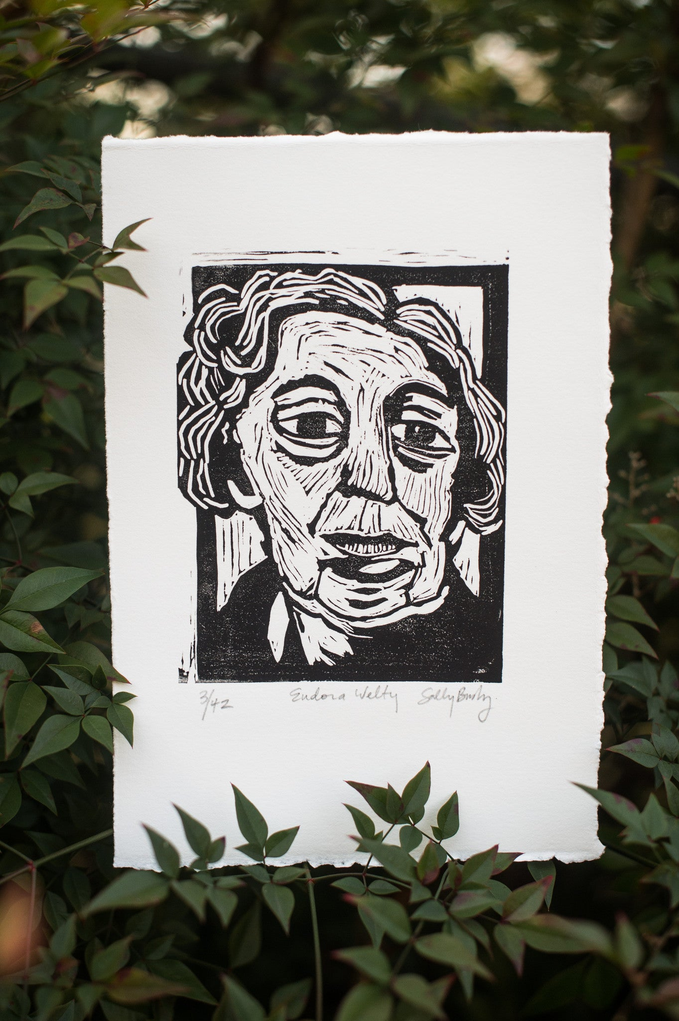 Hand Pulled Eudora Welty Linocut Art Print with leaves Literary Gift by Eastgrove Studio