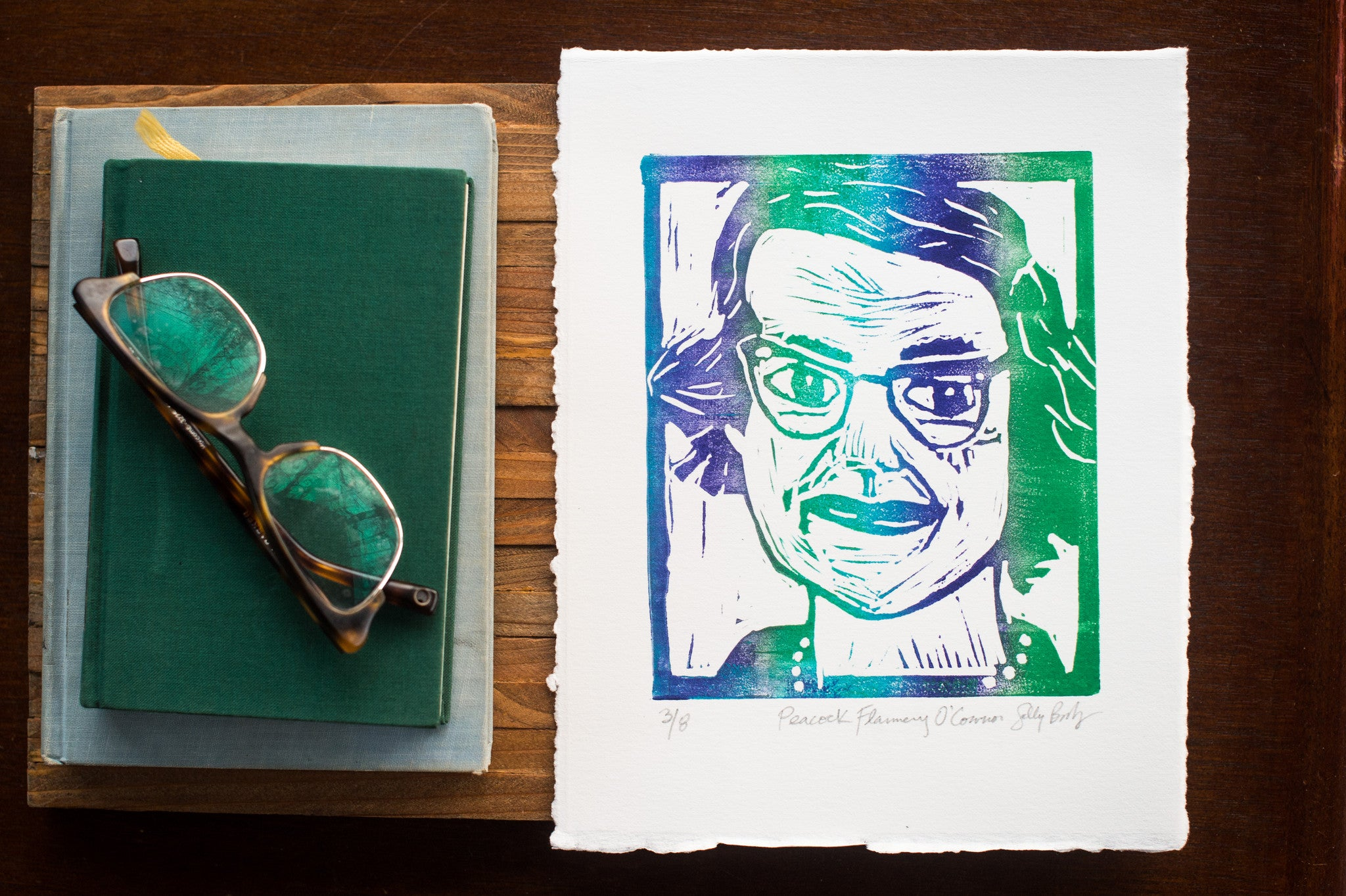 Hand Pulled Linocut Flannery O'Connor peacock colored art print with glasses and book Literary gift by Eastgrove studio
