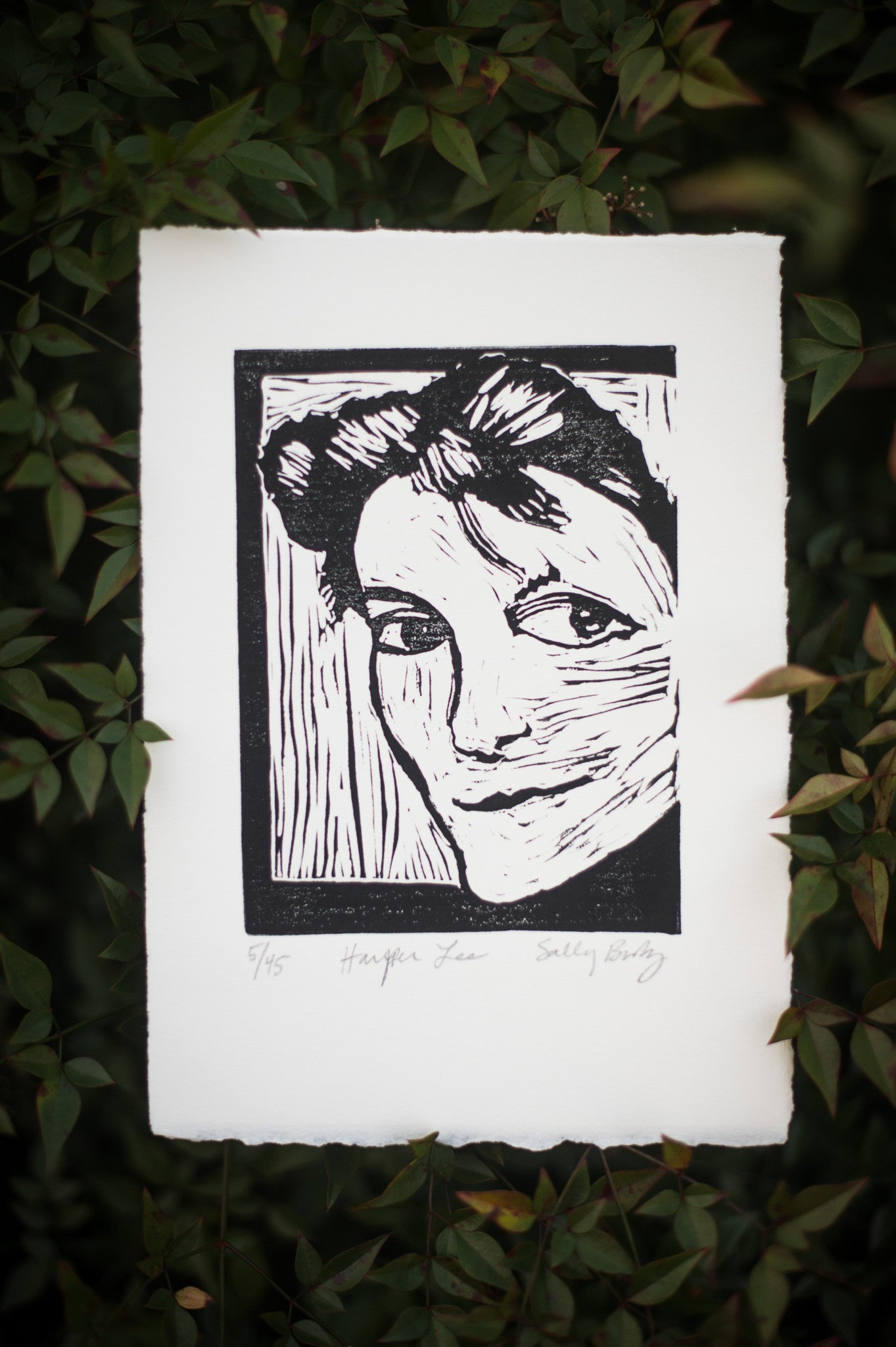 Hand Pulled Linocut Harper Lee art print with leaves Literary gift by Eastgrove studio