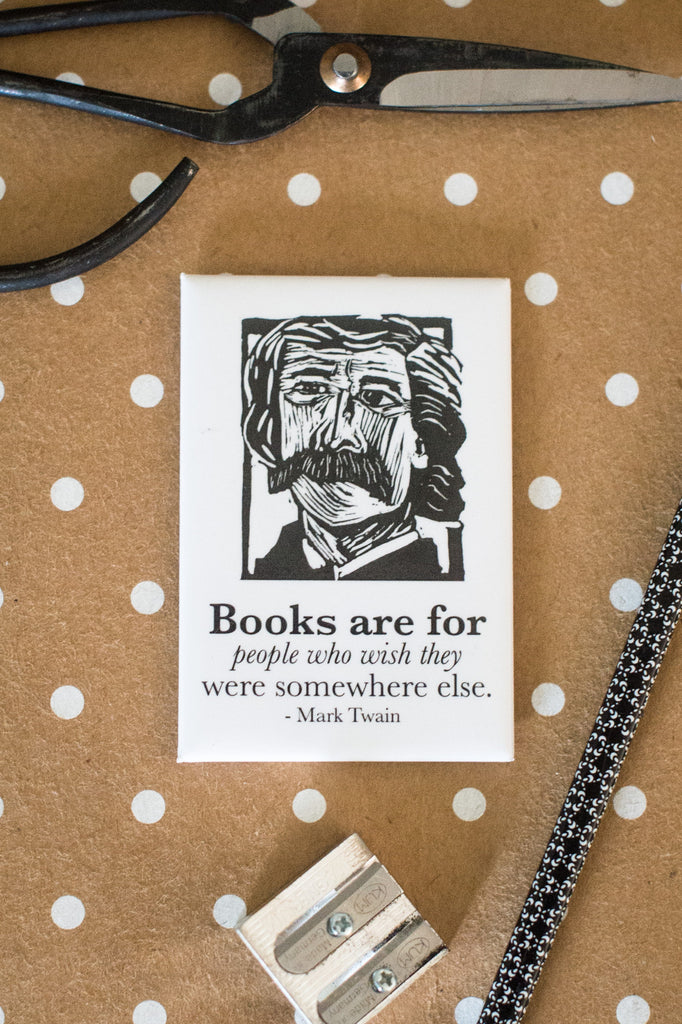 Mark Twain Magnet with quote literary gift by Eastgrove studio