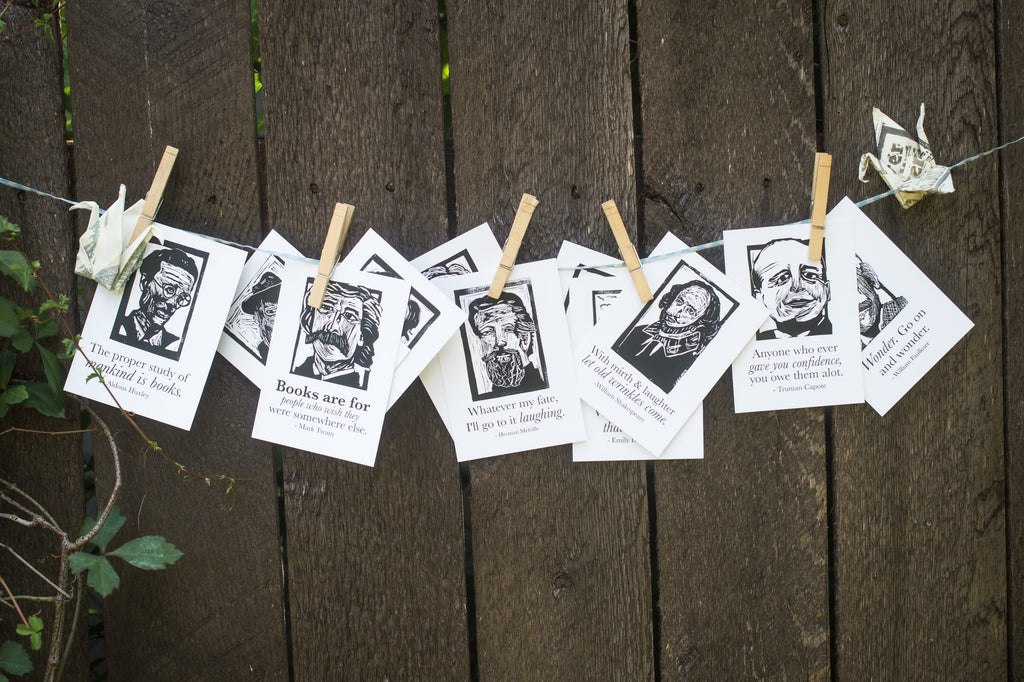 Postcard set Art prints of Poe, Whitman, Faulkner, Dickinson, Capote, Huxley, Lee, Steinbeck, Welty, Melville, and Shakespeare hanging to dry literary gifts by Eastgrove Studio