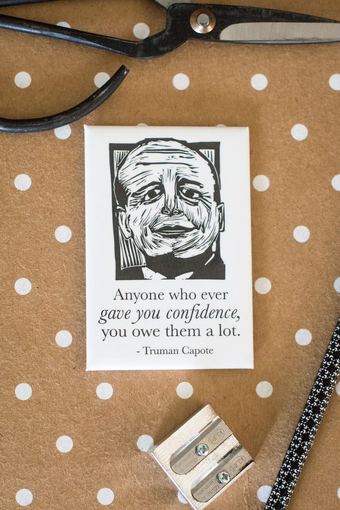 Magnet of Truman Capote literary gifts by Eastgrove Studio