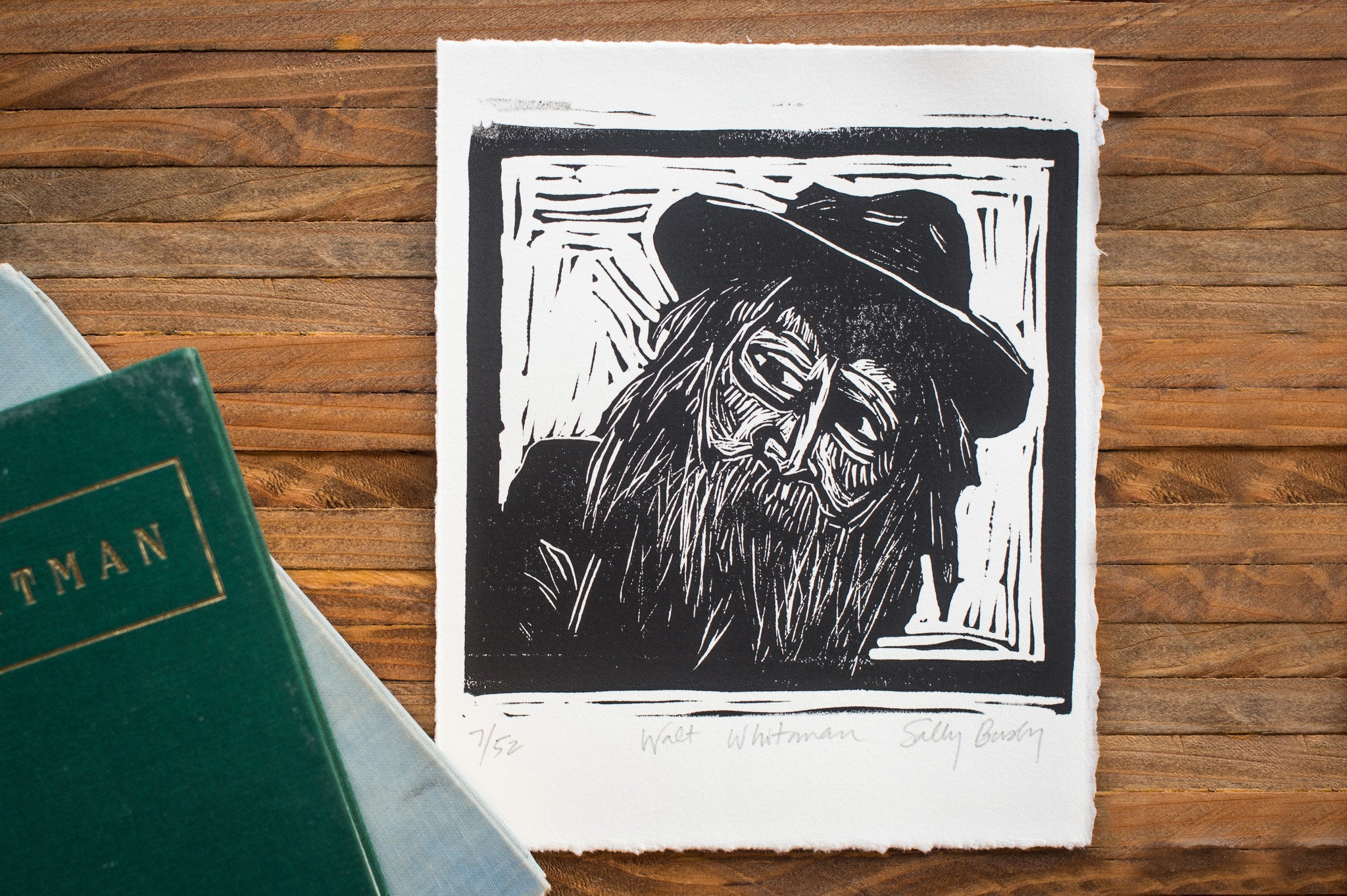 Walt Whitman Hand Pulled Art print with book literary gifts by Eastgrove Studio