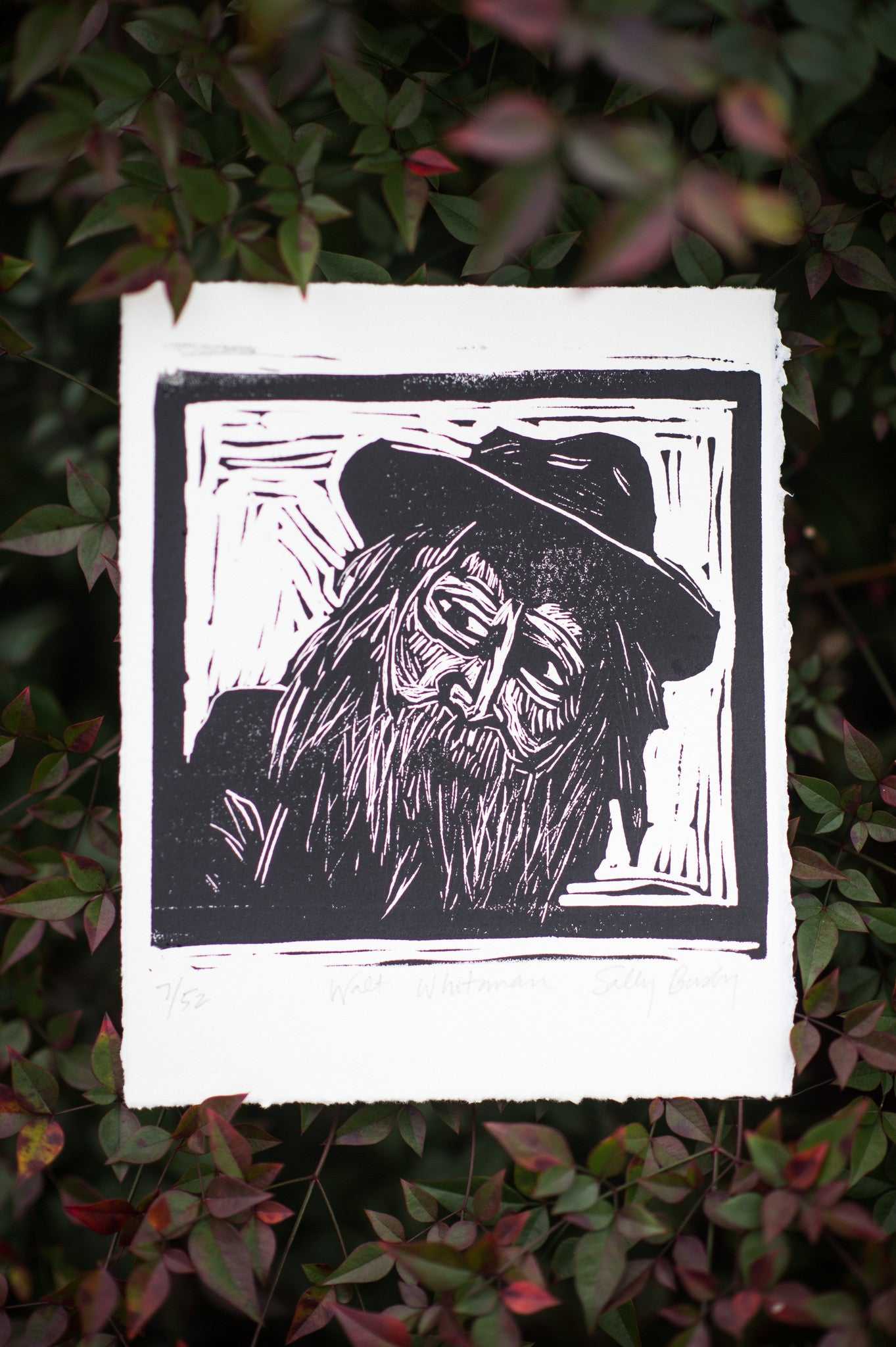 Walt Whitman Hand Pulled Art print with leaves literary gifts by Eastgrove Studio