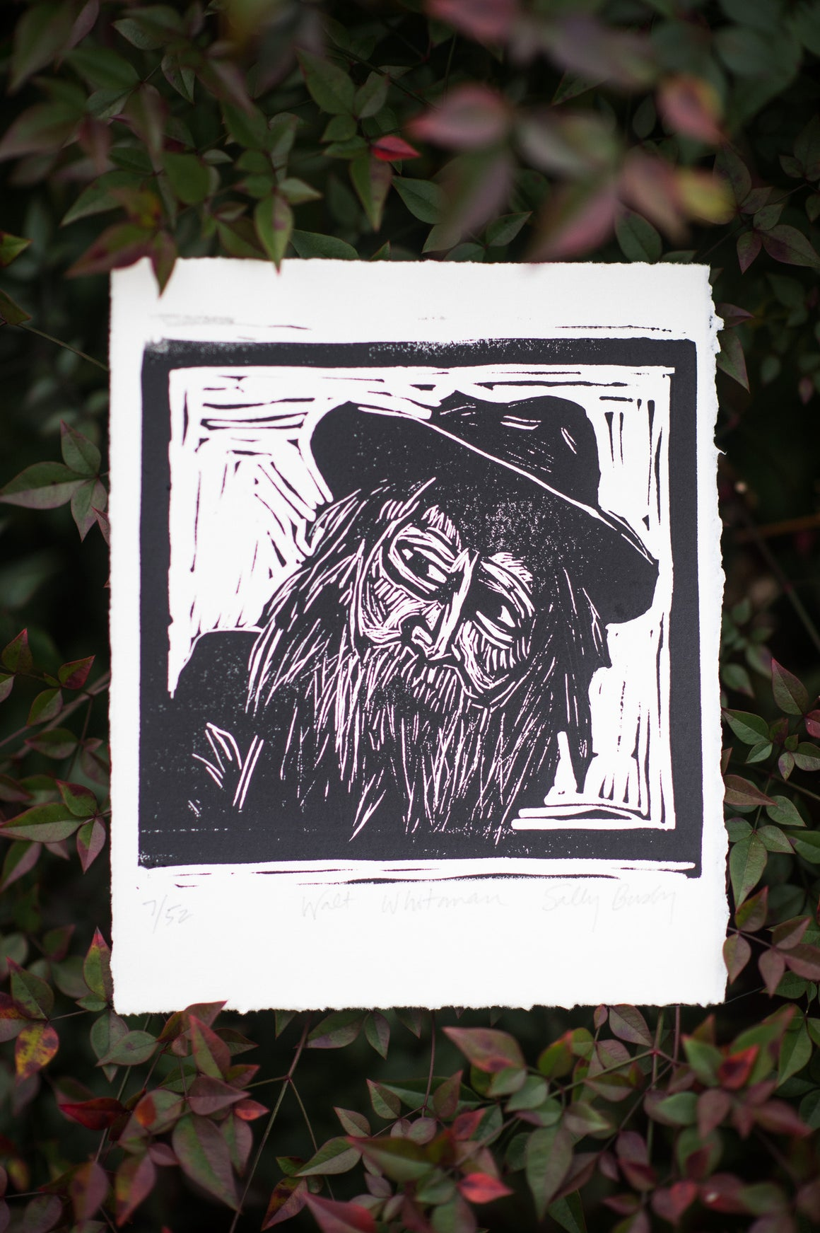 Walt Whitman Linocut Print, Black and White