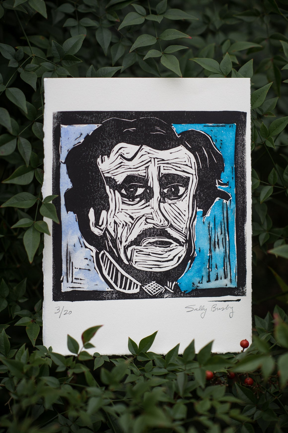 Edgar Allan Poe Linocut Print, Watercolor