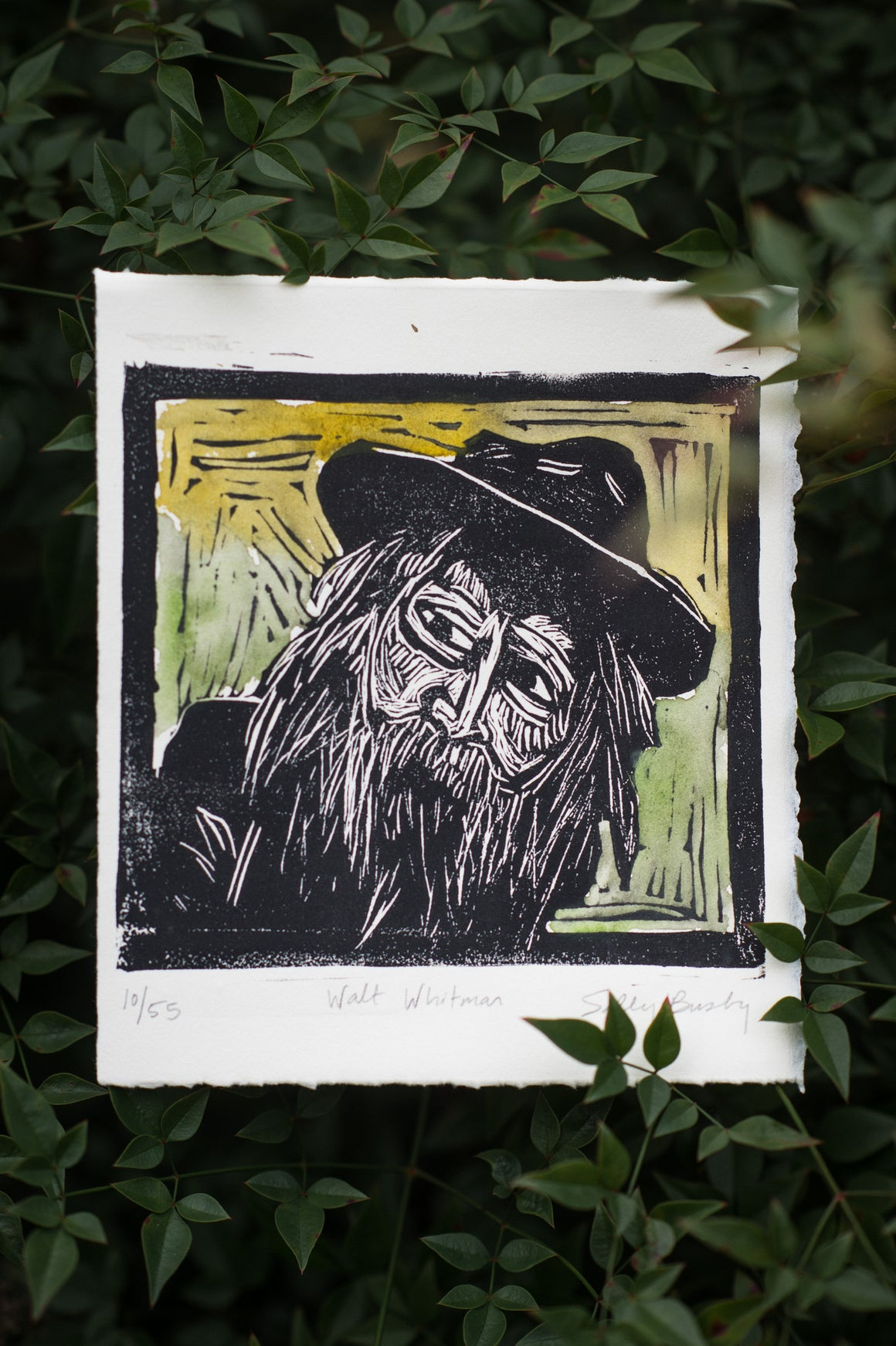 Walt Whitman Linocut Print, Handcolored